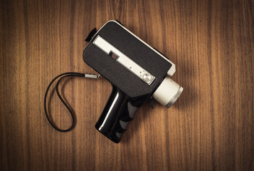 Close up lens of old fashioned retro 8 mm camera