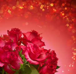Red roses bouquet isolated.