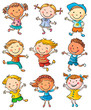 Nine Happy Kids Dancing or Jumping - 80413494