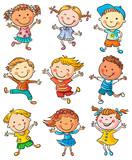 Nine Happy Kids Dancing or Jumping
