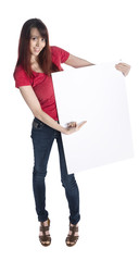 Pretty Woman Holding Cardboard with Copy Space