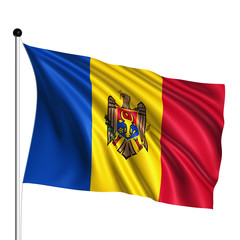 Moldova flag with fabric structure on white background