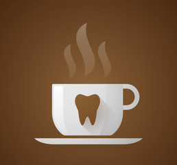 Coffee cup with a tooth