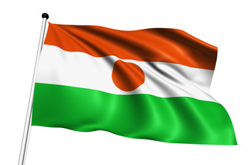 Niger flag with fabric structure on white background