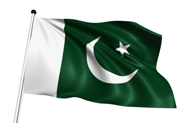 Pakistan flag with fabric structure on white background