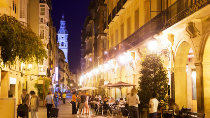 street with restaurants in night. Logrono