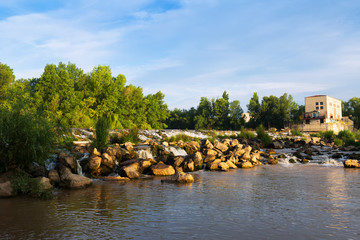 dam across Ebro river in Logrono