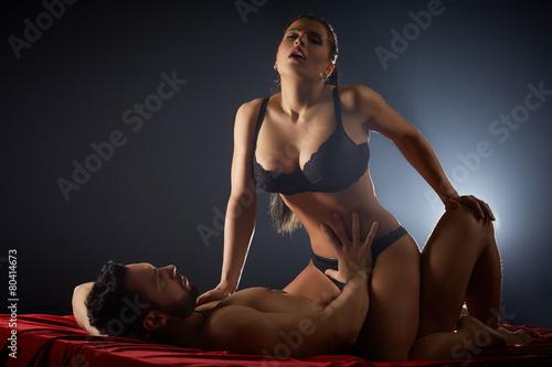 Leinwanddruck Bild Heterosexual partners passionately having sex
