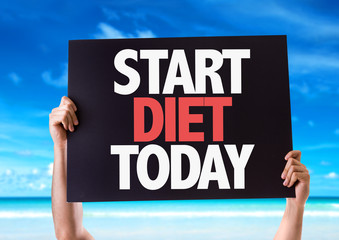 Start Diet Today card with beach background