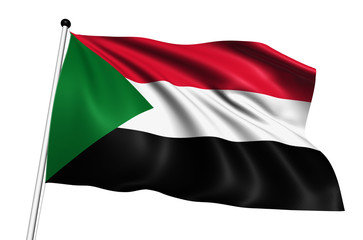 Sudan flag with fabric structure on white background