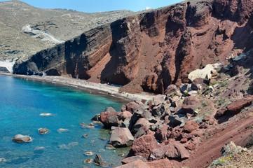 Plage volcanique - Red Beach - Santorin