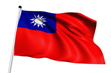 Taiwan flag with fabric structure on white background