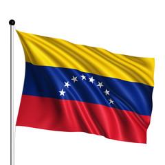 Venezuela flag with fabric structure on white background