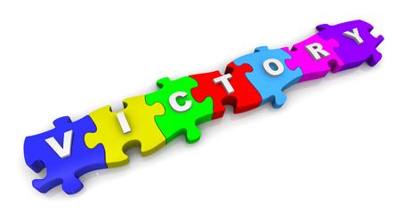 Победа (victory). Надпись на разноцветных пазлах