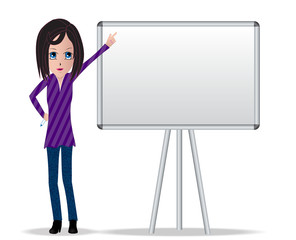 Brunette woman character with pointing hand on white board