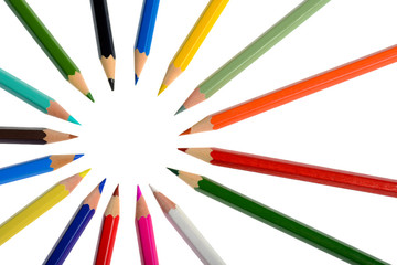 A circle of coloring crayons isolated on white background
