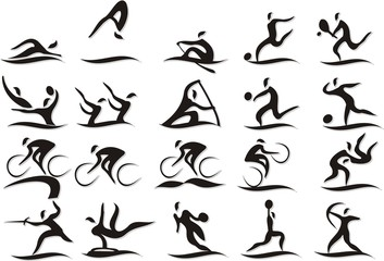 Set of vector silhouettes of people in sports blak