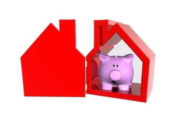Spaarvarken in rood huis