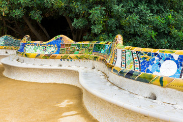 Mosaic serpentine bench in Park Guell of Gaudi, Barcelona. Spain