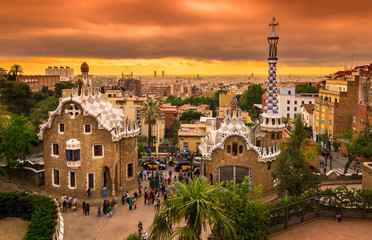 Sunset view of Park Guell in Barcelona, Spain