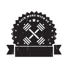 gain more with us black grunge sign with barbells vector, eps10