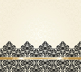 Ecru & black Fashionable decorative vintage wallpaper design