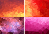 Fototapety red, orange and pink low poly backgrounds, vector set