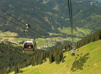 aerial tramway in Allgäu Alps near Oberstdorf, Austria.