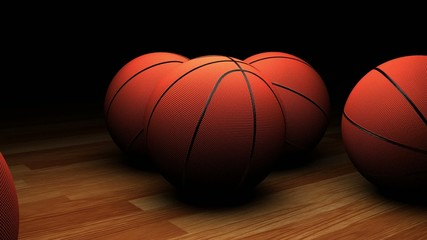 basketball on the court, joining its other basketballs
