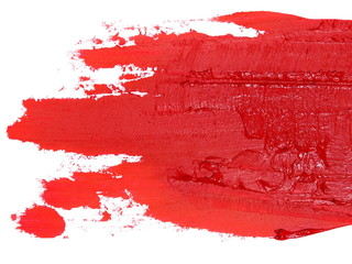 photo red grunge brush strokes oil paint isolated on white