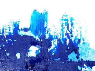 photo blue grunge brush strokes oil paint isolated on white