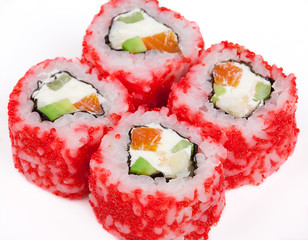 Sushi roll with salmon, crab, shrimps and caviar.