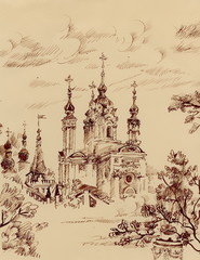 Sketch of church,engraving style on old paper grunge background
