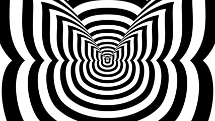 Concentric oncoming abstract symbol, lady-cat - optical illusion