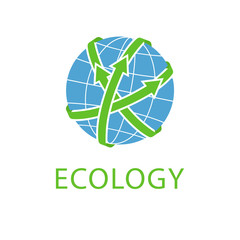Abstract globe with green arrows, concept save planet, eco logo