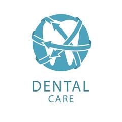 Dental logo, shape tooth, health care concept