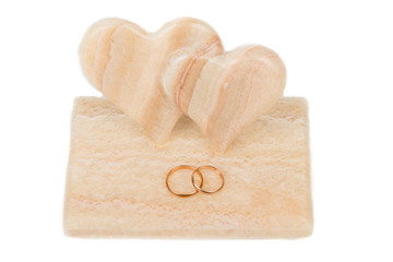 wedding rings and two hearts