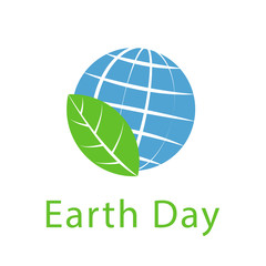 Globe and leaf, Earth day icon, ecology logo