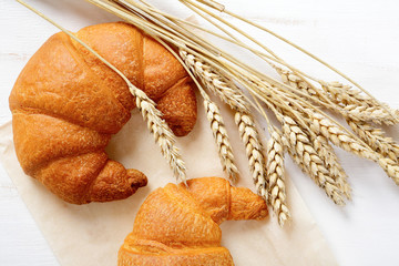 French croissants with spikelets of wheat