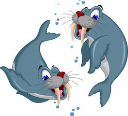 cute Cartoon walrus couple
