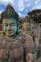 Khmer ancient sculptures nearby Angkor Wat