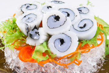 squid sashimi macro.