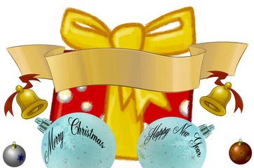 Weihnachts Paket, Kugeln und Banner