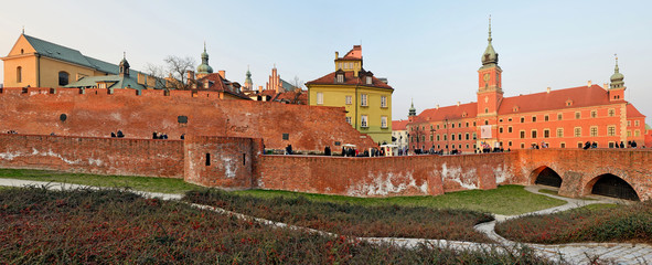 The old town at sunset. Warsaw -Stitched Panorama