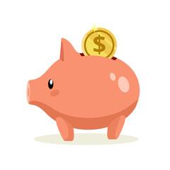 Vector flat piggy bank illustration