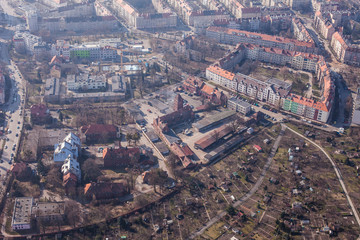 aerial view of a Wrocław city