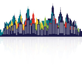 Modern City Skyline Silhouette With Retro Colors