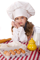 Beautiful little baby dressed as a cook
