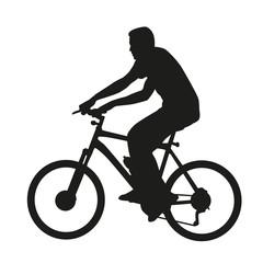 Cyclist on mountain bike. Vector silhouette