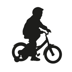 Little girl on bike. Vector isolated silhouette